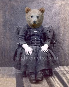 20% Off Sale 5x7 Bear Art Print Mixed Media Collage by frighten