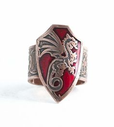 Dragon shield ring in pure copper with adjustable skull band size 9 from Paragon of Design by Skrocki