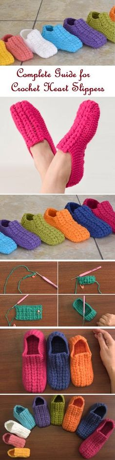 "Crochet These Lovely Heart Slippers ""Crochet These Lovely Heart Slippers - Design Peak"", Slipper Tutorial to Try Your Yarn On – Design Peak"", ""Eek Crochet Slipper Pattern, Knitted Slippers, Crochet Slippers, Crochet Crafts, Crochet Projects, Love Crochet, Knit Crochet, Crochet Granny, Knitting Patterns"