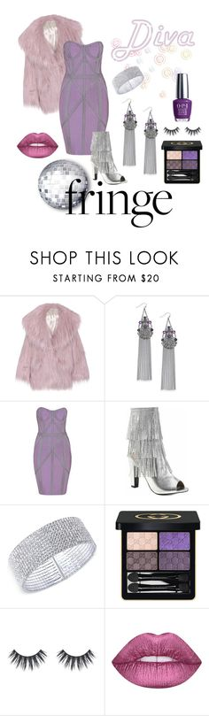"""""""Diva Fringe"""" by reddybelden ❤ liked on Polyvore featuring Miu Miu, INC International Concepts, Pleaser, Anne Klein, Gucci, Lime Crime and OPI"""