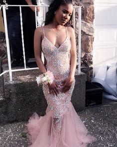 Rhinestones Pink Mermaid Spaghetti Straps V Neck Tulle Prom Dress CR 7780 - - Tulle Prom Dress, Mermaid Prom Dresses, Pink Mermaid Dress, Black Girl Prom Dresses, Formal Dresses, Club Dresses, Party Dresses, Prom Goals, Prom Outfits
