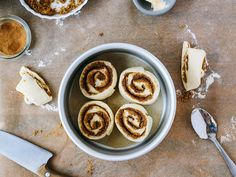 Sunday baking idea: a small batch of cinnamon rolls.