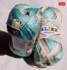 Alize Bamboo Fine Yarn, hypoallergenic yarn batik design in greens and beige…