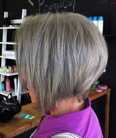 Inverted Bob for Grey Hair