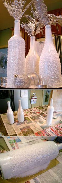 Снежные бутылки - легко и просто!!!. =)