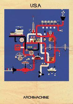 """Galeria - ARCHIMACHINE: 17 países ilustrados como """"máquinas arquitetônicas"""" - 11"""
