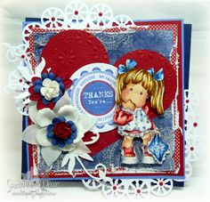 Yankee Doodle Dandy Girl -Uses Tilda with blue blanket from Magnolia stamps
