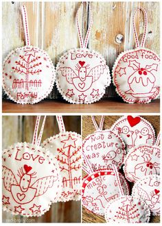 Gorgeous Christmas Ornaments to make and hang for a stunning homemade Christmas, quick and easy to make, simple embroidery techniques.