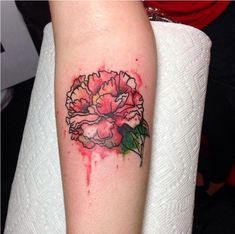 Pink Carnation Tattoo Arm