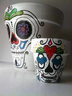 Day of the Dead flower pot planter Sugar skull catrina Halloween decor succulent garden hand painted terra-cotta from SpiritofAine on Etsy.