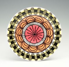 Bohemian Mandala Plate Salad Lunch Dinner Yellow Orange Red Black and White