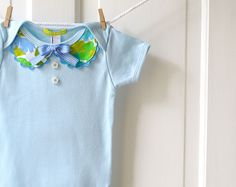 SALE 6-12m Baby Girl Peter Pan Collar Onesie- LAST ONE-Light Blue- Vintage Floral- Handmade Baby Shower Gift- Recycled- Spring Fashion by ChirpAndBloom on Etsy https://www.etsy.com/listing/125232408/sale-6-12m-baby-girl-peter-pan-collar