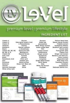 Many of you are asking what's in #Thrive? Here is a simple list. Keep in mind that Thrive is an EXPERIENCE, which means that 7 out of 10 people have a different story.   Ready to see what your story will be like? Follow the link below, sign up for either a #free promoter or #free customer account and then contact me to arrange your trial pack purchase.   www.anat711.le-vel.com