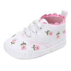new arrival 67353 3b22a Voberry Baby Girls Soft Sole Floral Canvas Sneakers Shoes 6~12 Month White   gt