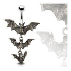 "Gothic Tri-Vampire Bats Dangle Navel Belly Button Ring - 14GA /8"" Long, Women's"