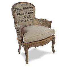 Like!  Grain sack covered chair