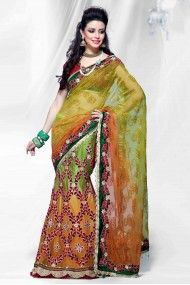 Net Lehenga Saree In Light Orange and Perrot Green Colour