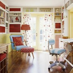23+Colorful+Home+Office+Design+Ideas Great use of space with shelves