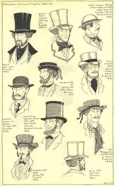 Hats, 1840-60's. Village Hat Shop Gallery, Chapter 15 - Victorian and Second Empire 1840-1870.