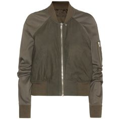 Rick Owens Brushed Leather Bomber Jacket (1,785 CAD) ❤ liked on Polyvore featuring outerwear, jackets, coats & jackets, green, bomber style jacket, green leather jacket, rick owens jacket, green flight jacket and 100 leather jacket
