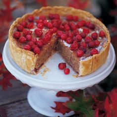 Cranberry, Almond, and Cinnamon Tart. A stunning fall tart with a towering frangipane filling is crowned with cranberry jewels. Fresh Cranberry Recipes, Cranberry Almond, Cranberry Jam, Holiday Desserts, Just Desserts, Holiday Baking, Holiday Treats, Tart Recipes, Recipes
