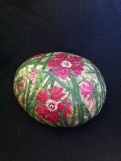 "Hand Painted Stone ""Pretty in Pink Flowers"" Painted on Pink, Smooth Stone from Lake Michigan Beach on Etsy, $30.00"
