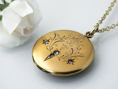 Gold Antique Locket, Engraved Victorian Locket - 20 Inch Long Chain Included Belle Epoque Locket on Etsy