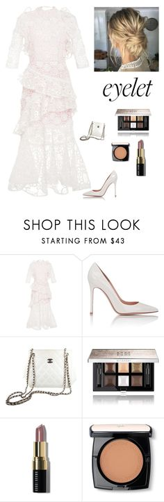 """""""Elegant Eyelet Gowns"""" by kotnourka ❤ liked on Polyvore featuring Alexis, Gianvito Rossi, Chanel, Givenchy, Bobbi Brown Cosmetics and Lancôme"""