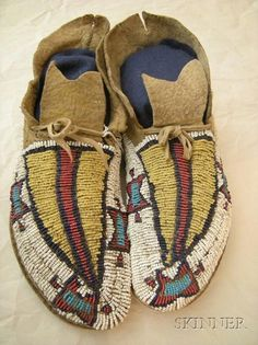 Central Plains Beaded Buffalo Hide Moccasins Arapaho
