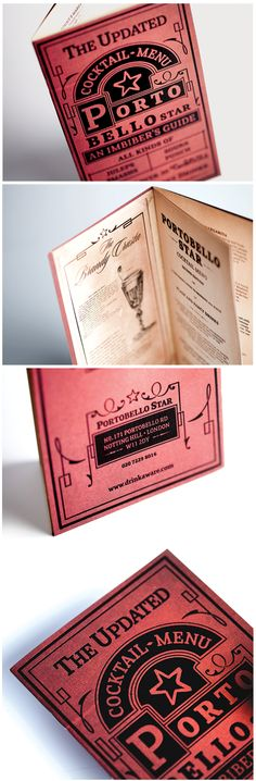 Portobello Star - Cocktail Menu by Analogue , via Behance