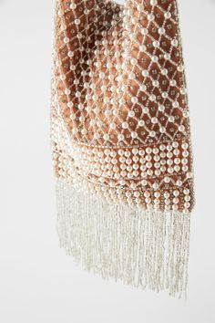 pearl detail exterior and patterned beading at front. lineal placed beading at back. beaded fringe at lower part. lined interior. height x length x width: x x inches x x cm) Couture Embroidery, Embroidery Bags, Beaded Bags, Beaded Jewelry, Mini Crossbody Bag, Girls Bags, Pearl Beads, Floral Prints, Crochet