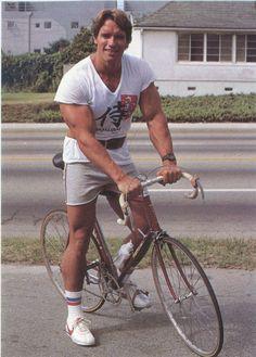 Arnold Schwarzenegger on a bike, 1970s.