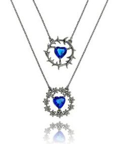 escapulario rodio negro semijoia sagrado coracoes safira azul