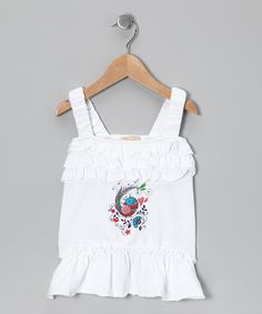 White Fancy Bird Gracie Tunic - Toddler & Girls