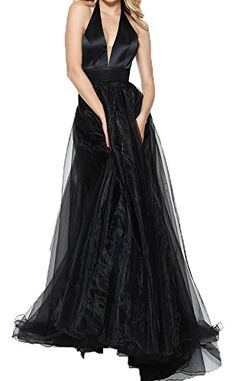 Fanmu Deep V Neck A Line Tulle Prom Dresse Formal Gowns Black US 26plus -- Visit the image link more details.