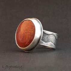 Hey, I found this really awesome Etsy listing at http://www.etsy.com/listing/170765918/silver-ring-red-horn-coral-cabochon