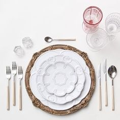 Our Walnut Florentine Chargers + Signature Collection China + Birch Flatware + Pink/Cut Crystal/Coupe Trios + Antique Crystal Salt Cellars