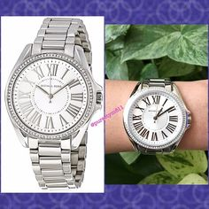 Authentic Michael Kors Crystal Watch % AUTHENTIC ✨ Gorgeous silver tone women's watch from Michael Kors  Stainless steel case w/ stainless steel bracelet. Fixed stainless steel bezel set with crystals Silver dial with silver tone hands and Roman Numerals hour markers. Scratch resistant mineral crystal. Beautiful casual style watch Box & card included. NO TRADE  PRICE IS FIRM ‼️ Michael Kors Accessories Watches