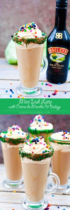 Mint Irish Latte - Put a little luck of the Irish in your morning coffee with this Mint Irish Latte. Crème de Menthe is combined with Baileys Irish Cream in a chocolate and sprinkles rimmed glass, rich espresso and frothy milk is then poured over the top. Add some vanilla whipped cream and rainbow sprinkles to finish it off with a touch of magic! The best way to drink coffee this St Patrick's Day