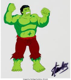 Incredible Hulk Production Cel signed by Stan Lee (Marvel, c. This hand-painted production cel of the - Available at Sunday Internet Comics Auction. Marvel Cartoons, Incredible Hulk, Stan Lee, My Passion, Auction, The Incredibles, Hand Painted, Animation, Comics