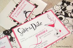 Bachelorette Party Invitation with Bling by From Me 2 You Creations, LLC. via Etsy. $227.00