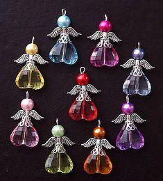 Made using acrylic pearl and faceted acrylic heart beads. 9 or 18 handmade Angel/Fairy charms. Beaded Christmas Ornaments, Christmas Earrings, Christmas Jewelry, Wire Crafts, Bead Crafts, Jewelry Crafts, Beaded Angels, Handmade Angels, Xmas Tree Decorations