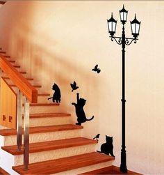 Vinilo decoracion gatos y farola por Decor18 en Etsy, €8.99