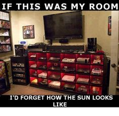 Funny pictures about Every gamer's dream room. Oh, and cool pics about Every gamer's dream room. Also, Every gamer's dream room. Xbox, Playstation, Game Poster, Geek House, Deco Gamer, N64, Best Gaming Setup, Gaming Room Setup, Computer Desks