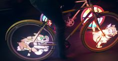 California-based company MonkeyLectric created a stunning bicycle wheel display system that projects hologram-like images to both sides of your wheel. The display kicks in when you start rolling and produces the visual show while the bike is operating within 10-30 mph (15-50km/h).