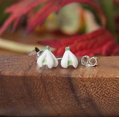 Single Snowdrop Stud Earrings by Good Intentions, the perfect gift for Explore more unique gifts in our curated marketplace. Jewelry Box, Women Jewelry, Jewellery, Lapel Pins, Women's Earrings, Personalized Gifts, Unique Gifts, Hand Painted, Sterling Silver