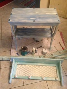 Teal shelf and side table
