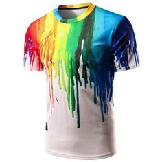 Casual Pullover Colorful Painting T-Shirt For Men