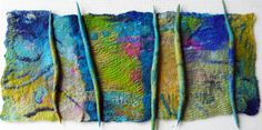 Wall panel by Fiona Rainford - wet felted, hand stitched Fabric Beads, Fabric Art, Fabric Crafts, Wet Felting, Needle Felting, Felt Wall Hanging, Felt Pictures, Creative Textiles, Felt Embroidery