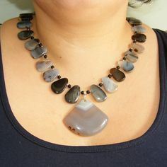 Sterling Silver Necklace in Gorgeous Grey Dendritic Agate with Magnetic Clasp £50.00